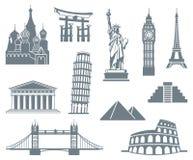 Set för världsLandmarksymbol stock illustrationer