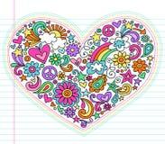 Set för vektor för klotter för hjärtaförälskelse Psychedelic royaltyfri illustrationer
