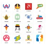 Set of f, krishna, anarchy, passion fruit, travel, camera, queen bee, no parking, wn icons. Set Of 16 simple editable icons such as f, krishna, shoe with wings Royalty Free Stock Images