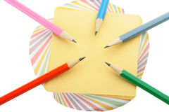 set för blyertspenna för anmärkningspapper Arkivbild