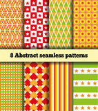 Set Fabric With Abstract Pattern. Set of eight samples of fabrics. Bright abstract geometric symmetric continuous pattern. Seamless texture. In the illustration Stock Photography
