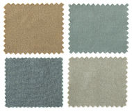 Set of fabric swatch samples texture. Isolated on white royalty free stock photography