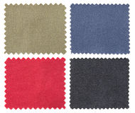 Set of fabric swatch samples texture. Isolated on white stock photography