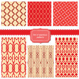 Set of fabric textures with different lattices. Seamless patterns Stock Photography