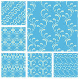 Set of fabric textures in light blue colors-seamless patterns. Stock Images