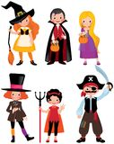 Set fabulous Halloween characters. Boys and girls in the costume Royalty Free Stock Photo