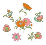 Set of fabulous vintage flowers in ethnic folk style for your design ideas Royalty Free Stock Photo