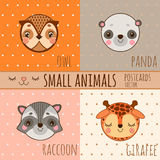 Set of face animals, cartoon heads Royalty Free Stock Photography