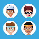 Set face boys players sport different Royalty Free Stock Photo