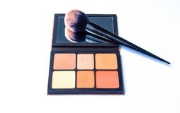 Face brushes highlight makeup stock photo