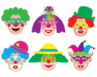 Set of face of clowns, icons. Vector illustration.  Stock Photography