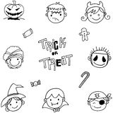 Set of face halloween doodle Stock Photo
