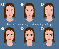 Set of face massage instructions  on blue background. Vector illustration of massage lines on woman face. Stock Images