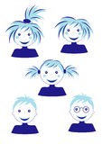 Set of faces. A set of boys and girls faces Royalty Free Stock Photos