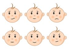 Set of faces baby. Vector illustration royalty free illustration