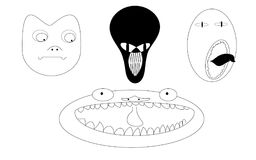 A set of 4 faces of black and white monsters of aliens. Stock Images