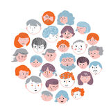 Set of faces cartoons card - round design Royalty Free Stock Image