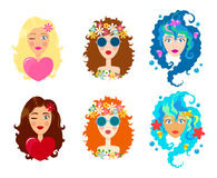 Set of Faces of cute girls with smile. Cartoon and flat style. Design element. White background. Vector illustration. Stock Photos
