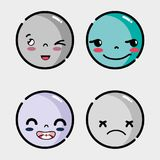 Set faces emoji with different emotion. Vector illustration Stock Photography