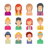 Set of faces in flat design. Vector illustration of flat design people characters. Avatars on a white background Royalty Free Stock Photos