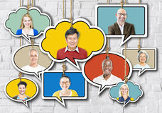 Set of Faces on Hanging Colourful Speech Bubbles Royalty Free Stock Image