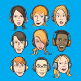 Set of faces with headphones Royalty Free Stock Photography