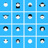 Set of faces icons for avatars stock illustration