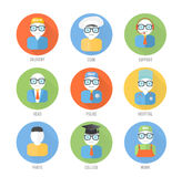 Set of faces icons of occupation in flat style Stock Images
