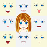 Set of faces in manga style. Cute anime eyes and mouths. Different human eyes and lips showing various human emotions. Vector illu Stock Image