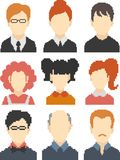 Set of pixel faces. Set of faces in perfect pixel art style. Retro 8-bit or 16-bit. Male and female faces with hairstyles. For your games, retro, business design Royalty Free Illustration