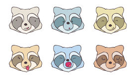 The set of faces raccoons. With different emotions Stock Images