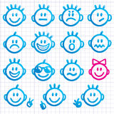 Set of faces with various emotion expressions. Stock Photography