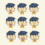 Set of faces with various emotion expressions cartoon style Royalty Free Stock Photography