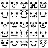 Set of faces with various emotions. Royalty Free Stock Image