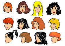 Set of 12 faces of women. Faces of women with different hairstyles and hair colors vector illustration