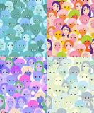 Set faces of women, girls blue seamless vector illustration Royalty Free Stock Photo