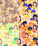 Set faces of women, girls bright. seamless vector illustration Stock Images