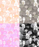 Set faces of women, girls graphics light. seamless vector illust Royalty Free Stock Photography