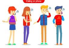 Set faceta, dziewczyny charakter wzywa telefon z i, był na telefonie, dzwoni smartphone, One royalty ilustracja