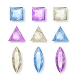Set of faceted diamonds Royalty Free Stock Image