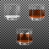 Set of faceted glass with whisky and ice cubes. Isolated on transparent background. Vector multifaceted glasses Royalty Free Stock Photography