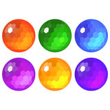 The Set of faceted spheres stock image