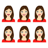 Set of facial expressions of girl. stock illustration