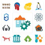 Set of facility, chemical company, recycle, bank, year the dog, motorcycle shop, revolver, celtic knot, s hexagon icons. Set Of 13 simple  icons such as facility Royalty Free Stock Images