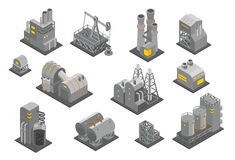 Set factories plant Isometry vector illustration. Oil Industrial production factory. Set Isometry plant consisting of factories Industrial buildings vector stock illustration