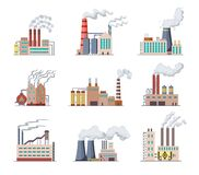 Set of Factories and power plants flat design of vector illustration. Manufactory industrial buildings refinery factory