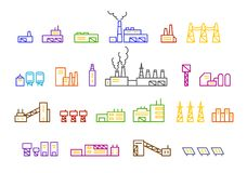 Set of factory illustration production Stock Photo