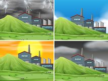 Set of factory scene. Illustration vector illustration