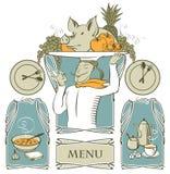 Set Fahnen mit dem Chef und der Nahrung Lizenzfreie Stockbilder