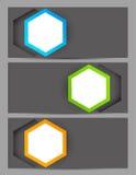 Set Fahnen mit Hexagonen Stockfotos